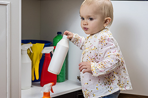 Awesome Toddler Playing With Household Cleaners At Home